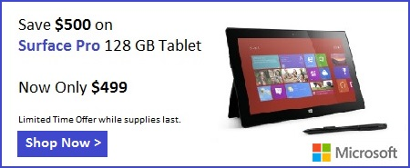 Microsoft Canada, Surface Pro Discount, Surface Pro coupon, Surface Pro Promotion, Save $500 Surface Pro, Surface Pro $499