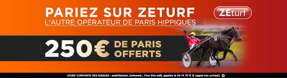 ZETURF 250€ de paris offerts!